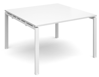 Exact Square Conference Table In White With A White Frame