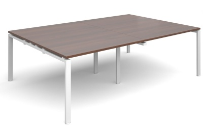 Exact Rectangular Conferebce Tables Walnut Top And White Frame