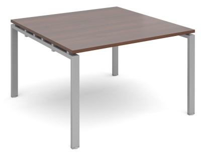 Exact Square Modular Table With A Walnut Top And Silver Frame