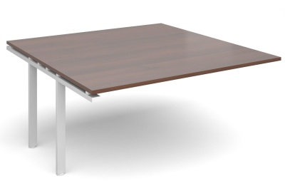 Exact Add On Table With A Walnut Top And White Frame
