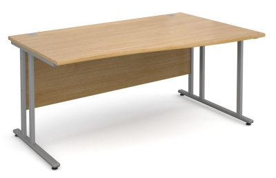 Momentum Right Hand Wave Desk With An Oak Top