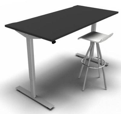 Height Adjustable Desk Black Silver Frame White Stool 2