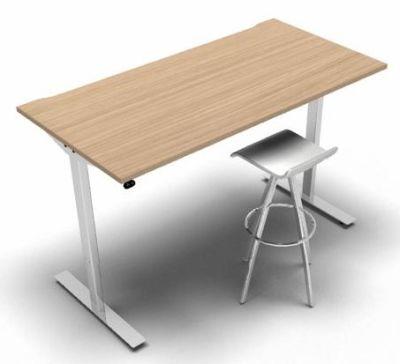Height Adjustable Desk Verde Oak White Frame Stool 2