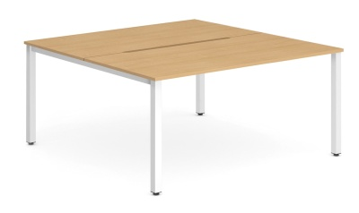 Expand Two Person Bench Desk Beech Top White Frame