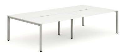 Expand Four Person Bench Desk With A White Top And Silver Frame