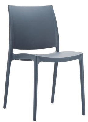 Maya V2 Plastic Chair In Dark Grey
