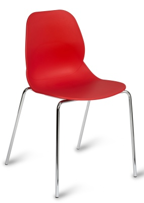 Mackie Chair With A Red Shell And Chrome Legs