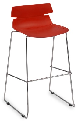 Foxton Designer High Stool With A Red Seat
