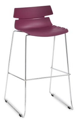 Foxton Designer High Stool With A Plum Seat