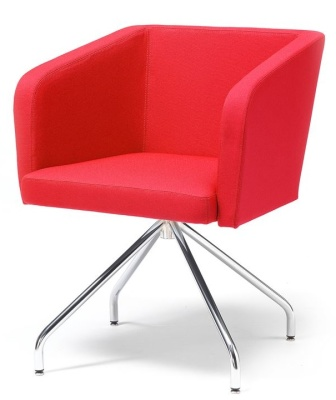 Strata Tub Chair With Four Legs Red Fabric