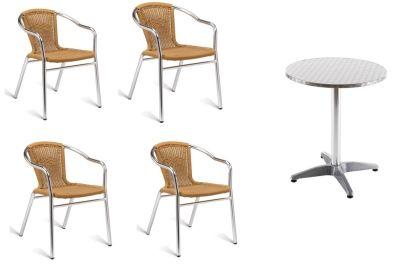 Pandora Outdoor Bistro Set With Natural Weave Armchairs