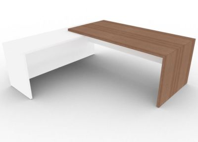 Tj Executive Desk With Walnut And White From The User Side