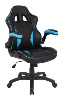 F1 Racer Executive Leather Chair With Blue Inserst And Piping Front Angle
