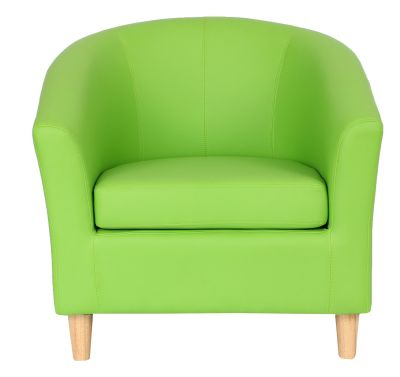 Tritium Tub Chair With Wooden Feet Lime Green Front Shot
