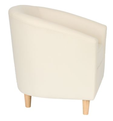 Tritium Tub Chair In Cream With Wooden Feet Side View