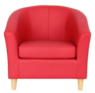 Tritium Tub Chair In Red With Wooden Legs Front Shot
