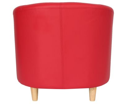 Tritium Red Tub Chair With Wooden Feet Rrear View
