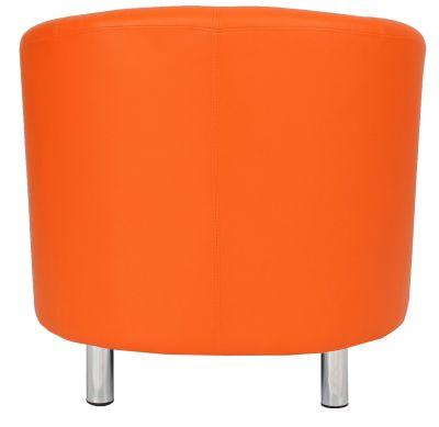 Tritium Orange Leather Tub Chair With Chrome Feet Rear View