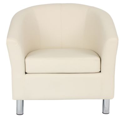 Tritium Cream Leather Tub Chairs With Chrome Feet Front View