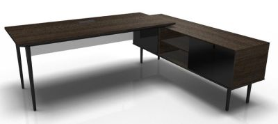 Longo Black And Dark Oak- Glass-Dark With Modesty Panel