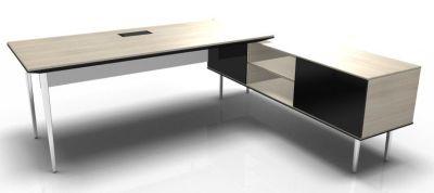 Longo Polished And Acacia-Glass-Dark With Modesty Panel
