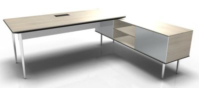 Longo Polished And Acacia-Glass-White With Modesty Panel