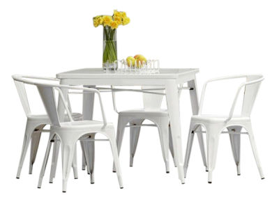 Tolix White Outdoor Dining Set 4