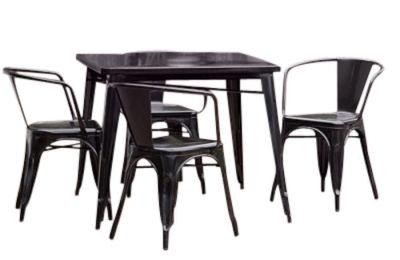 Tolix Black Outdoor Dining Set 6