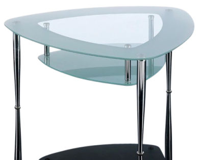 GCT Shield Shape Two Tier Glass Coffee Table