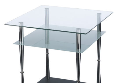GCT Square Two Tier Coffee Table Tapered Chrome Legs