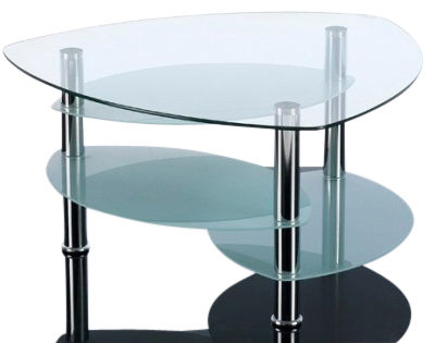 GCT Three Tier Teardrop Glass Coffee Table