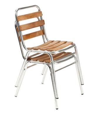 Trieste Outdoor Aluminium Sidechair With Teak Slats