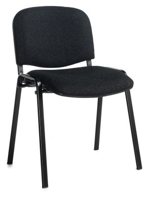 Stakka Chair In Charcoal Fabric With A Black Frame